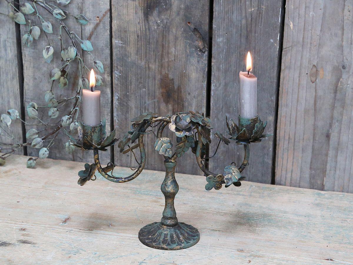 Kerzenständer mit Blättern von Chic Antique