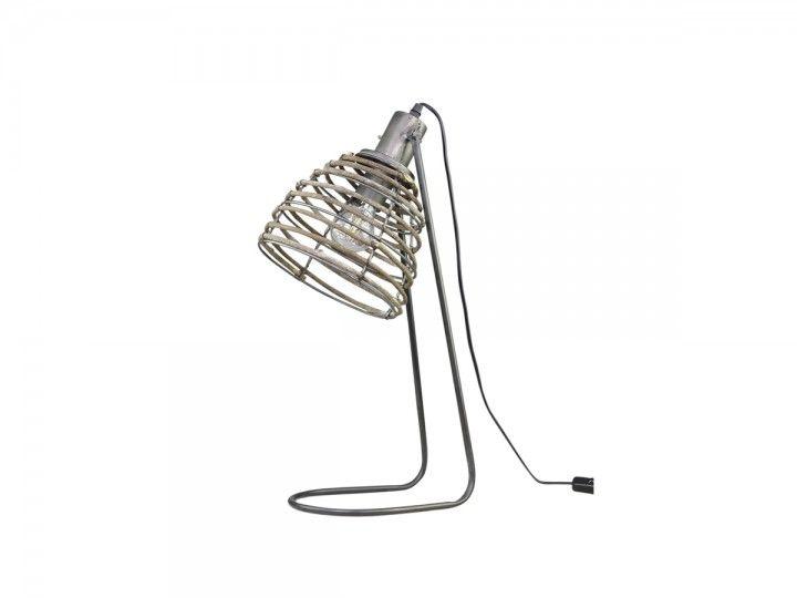Lampe mit Rattanschirm von Chic Antique
