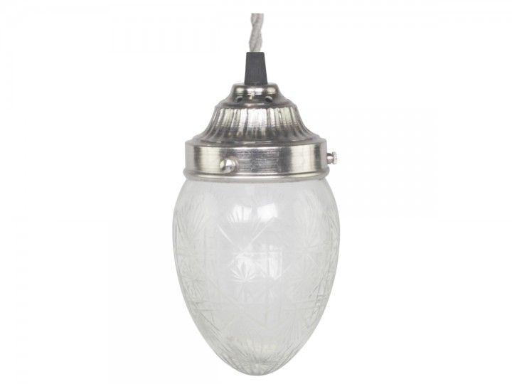 Lampe mit Schliff Tropfenförmig Glas von Chic Antique