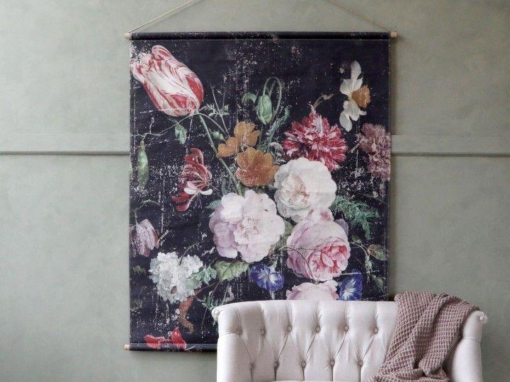 Leinwand zum Aufhängen mit französischem Blumendruck von Chiq Antique