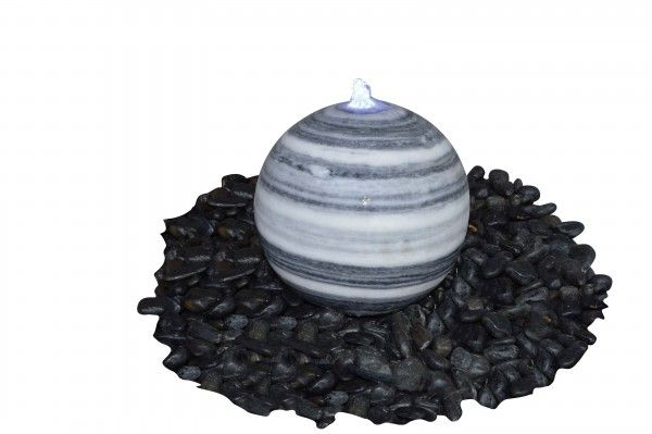 Marmor-Kugel grau-weiss- poliert