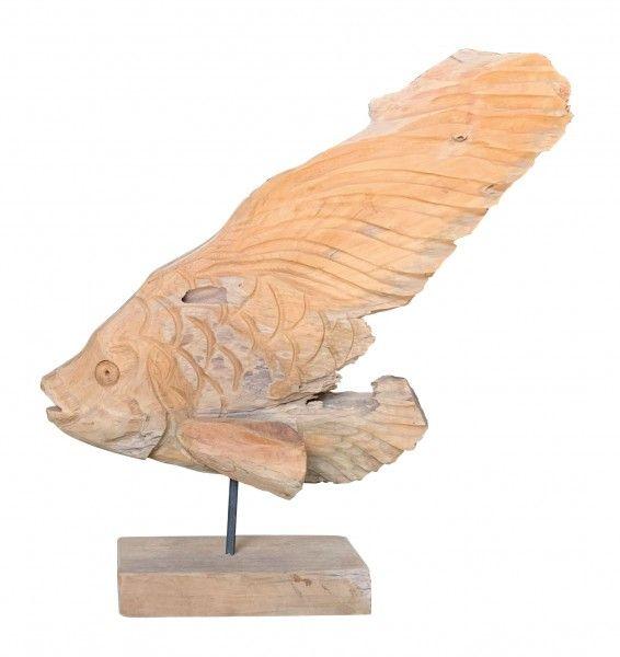Teakholz Deko-Fisch H 50-55cm
