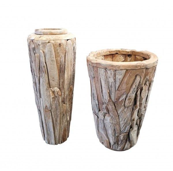 Teakholz Vase H 125 x 45 cm